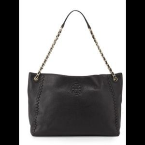 Black Marion Chain-Strap Slouchy Tote Bag